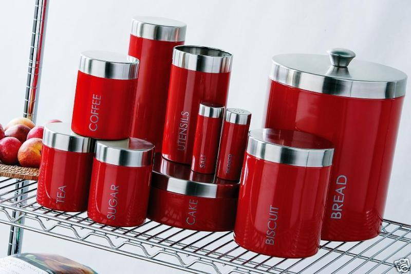 decorative kitchen canisters sets pot rack red canister | ideas