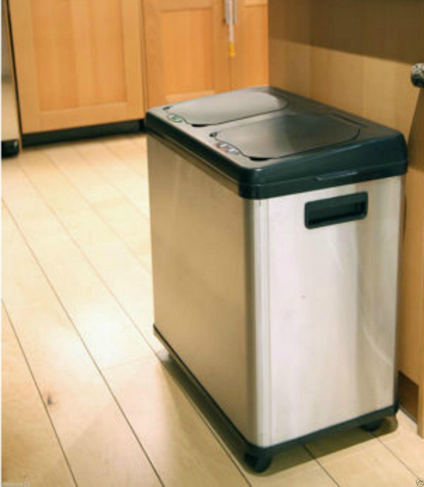 white kitchen trash can backsplash glass tile stainless steel garbage for ideas
