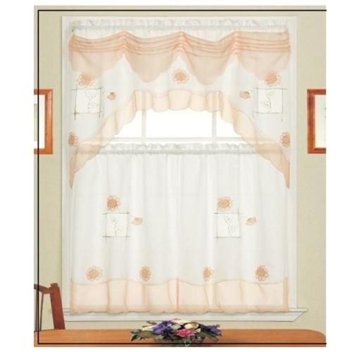 kitchen curtains peach color - kitchen design