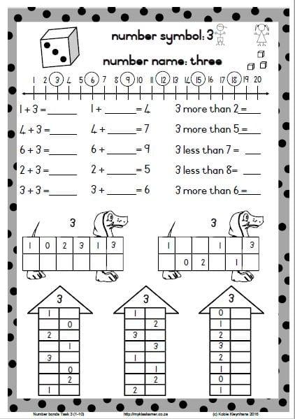 Number Bonds Task 3 (1-10) » My Klaskamer deur Kobie Kleynhans
