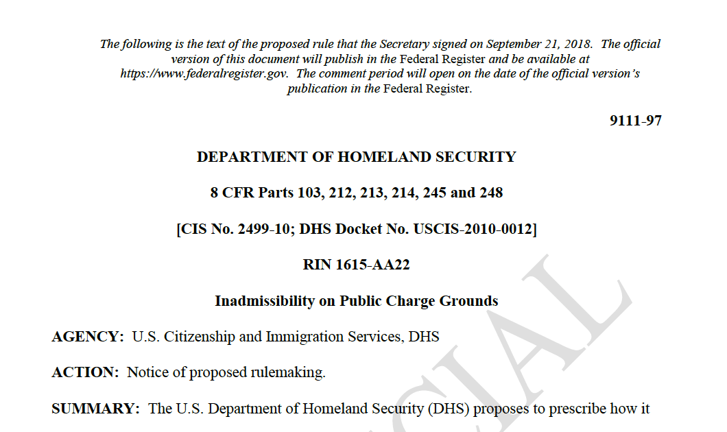 川普政府移民新规 – 大力度缩紧移民享受联邦公共福利