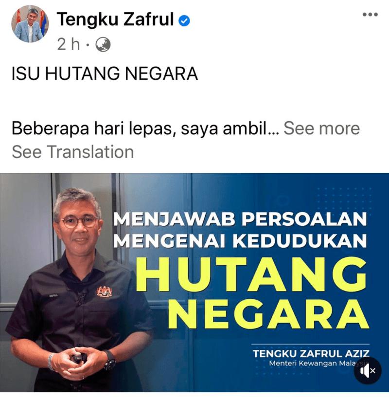 Najib Razak jawab Tengku Zafrul