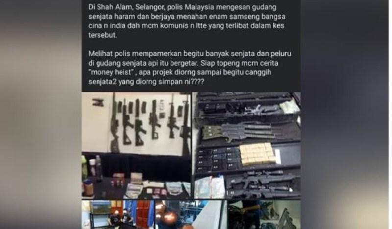 Polis Selangor nafi video tular rampasan senjata di gudang haram milik pengganas, LTTE