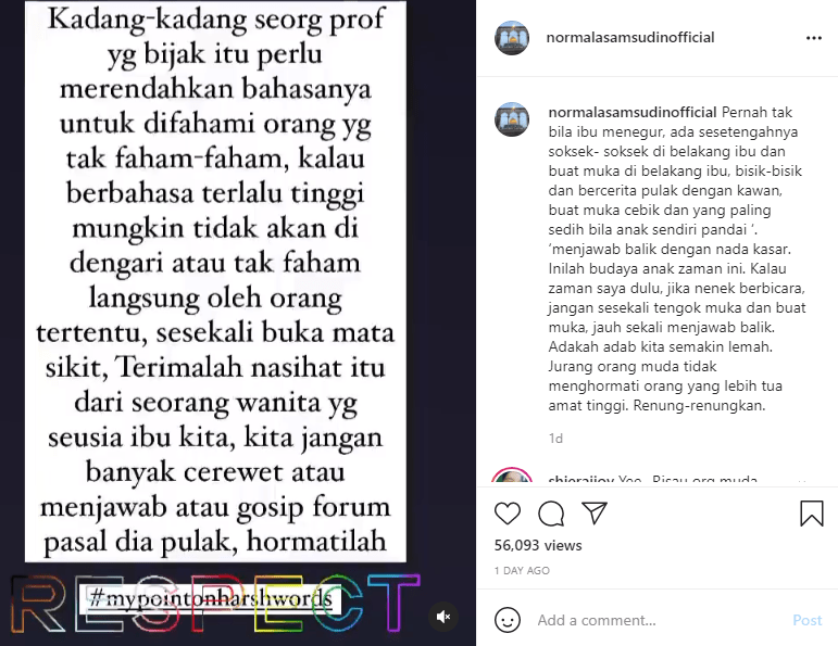 "Normala Samsudin Kecewa & Sindir Siapa Tu? Pedih...""Inilah Budaya Anak Zaman Ini"""