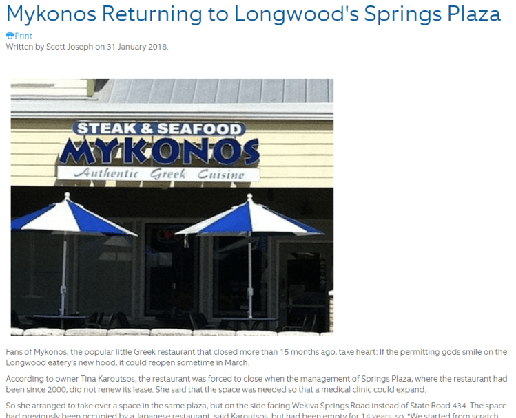 Screen Capture of article written by Scott Joseph about Mykonos Authentic Greek Cuisine's move and soon reopening