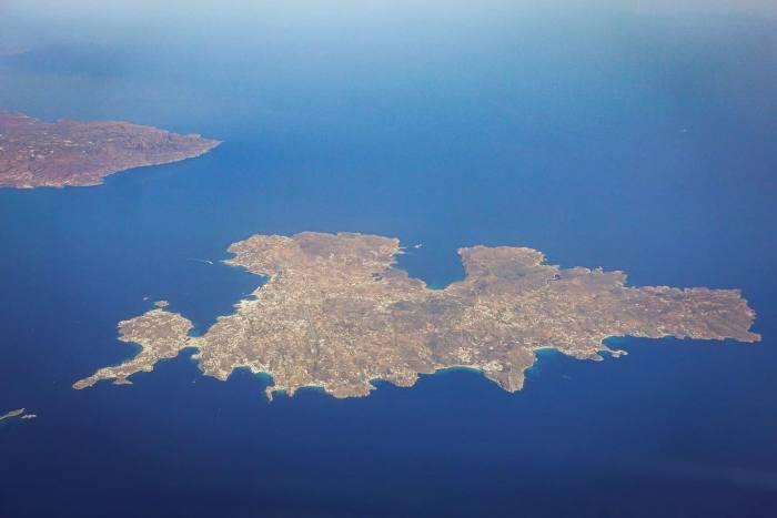Mykonos island aerial view