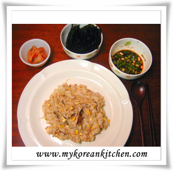 sprouts rice with side dishes