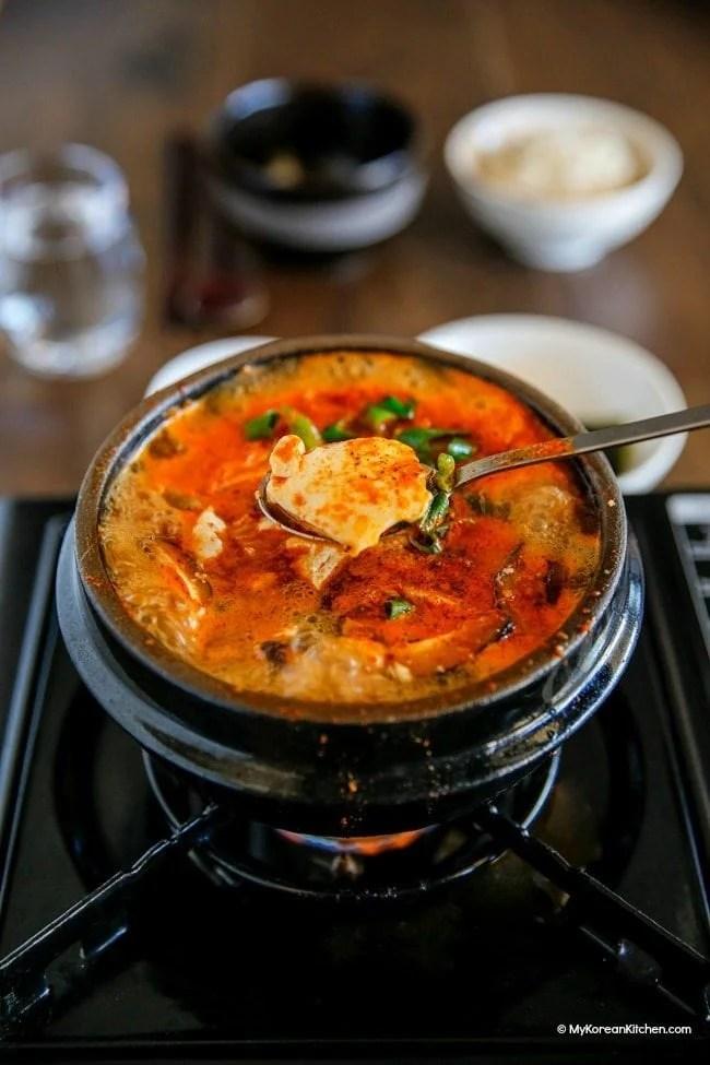 Sundubu Jjigae (Korean spicy soft tofu stew)   MyKoreanKitchen.com