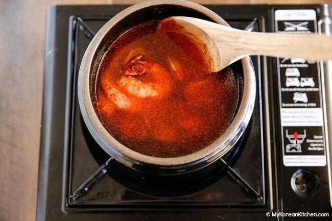 Sundubu Jjigae - Boiling soup base