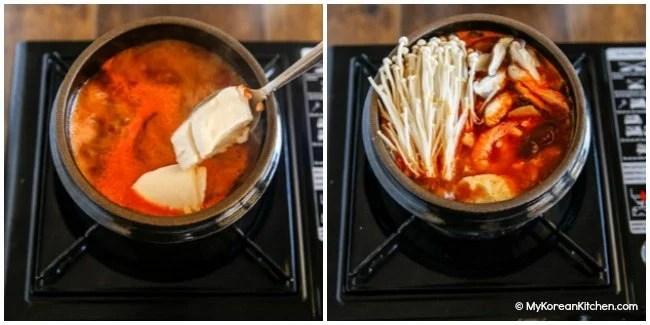 Sundubu Jjigae - Adding tofu, mushrooms and egg