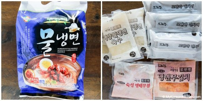 Instant mul naengmyun packet consists of buckwheat noodles, instant broth, and radish pickles. | MyKoreanKitchen.com