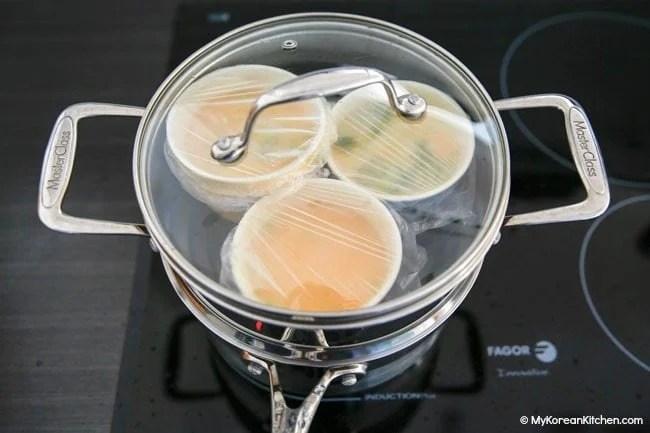 Korean steamed egg in a steamer pot