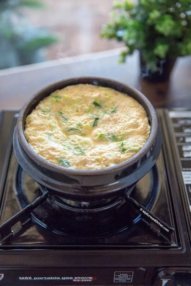How to Make Korean Steamed Egg (Gyeran Jjim) in a Korean Hot Stone Bowl   MyKoreanKitchen.com