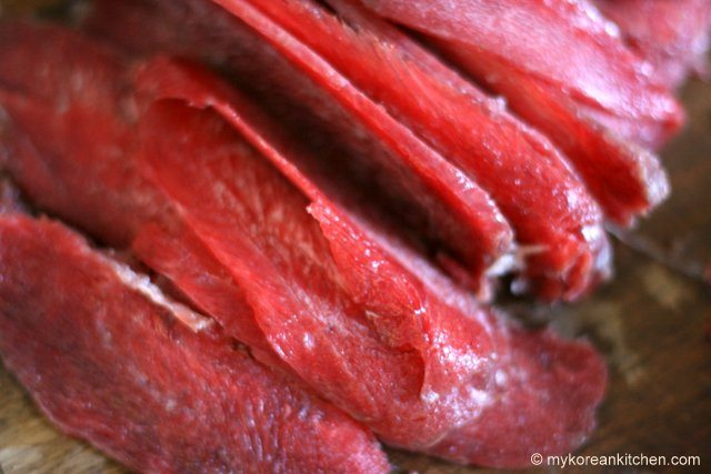 Thinly sliced Kangaroo Meat zoomed
