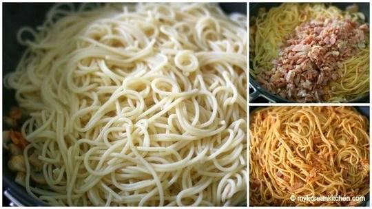 Add spaghetti and bacon