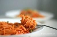 Kimchi Spaghetti with Bacon | MyKoreanKitchen.com