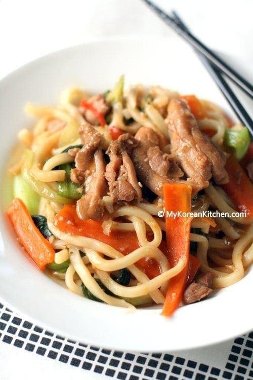 Korean Style Stir Fried Udon Noodles with Chicken and Veggies   MyKoreanKitchen.com