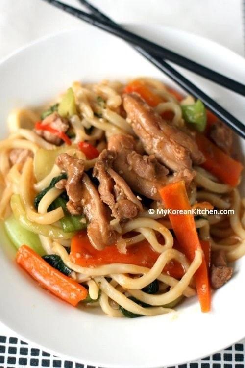 Korean Style Stir-fried Udon Noodles with Chicken and Veggies   MyKoreanKitchen.com