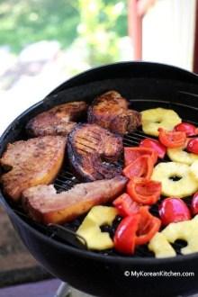 Char-grilled Korean Style BBQ Pork Chops | MyKoreanKitchen.com