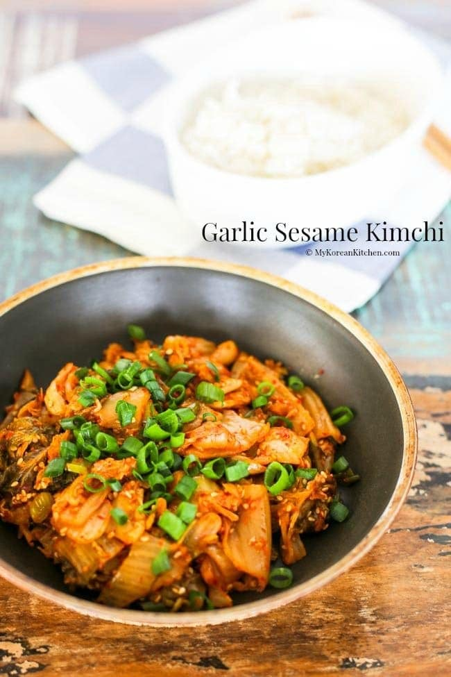 Garlic Sesame Kimchi Stir Fry - A simple, quick and easy to make Korean side dish that can transform your aged pungent Kimchi into a nutty aromatic relish  MyKoreanKitchen.com