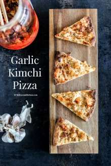 Garlic Kimchi Pizza recipe - It's crispy and savoury with a tint of Kimchi flavour. A perfect Korean fusion entry dish that will please your dinning guest. | MyKoreanKitchen.com