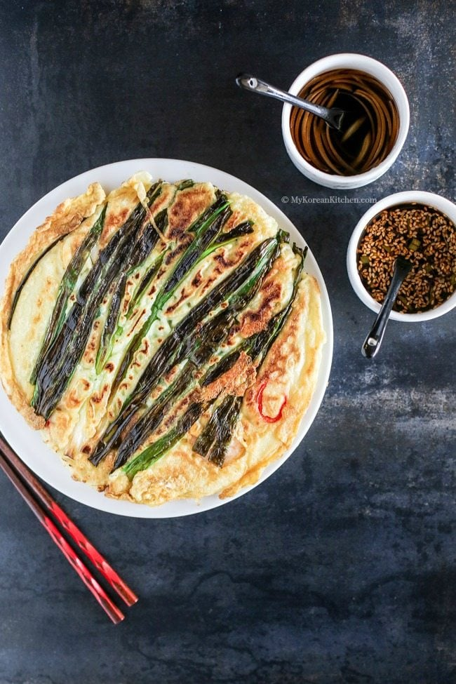 Korean Sweet Tangy Soy Dipping Sauce paired with Korean Pajeon (Seafood and Green Onion Pancakes)   MyKoreanKitchen.com