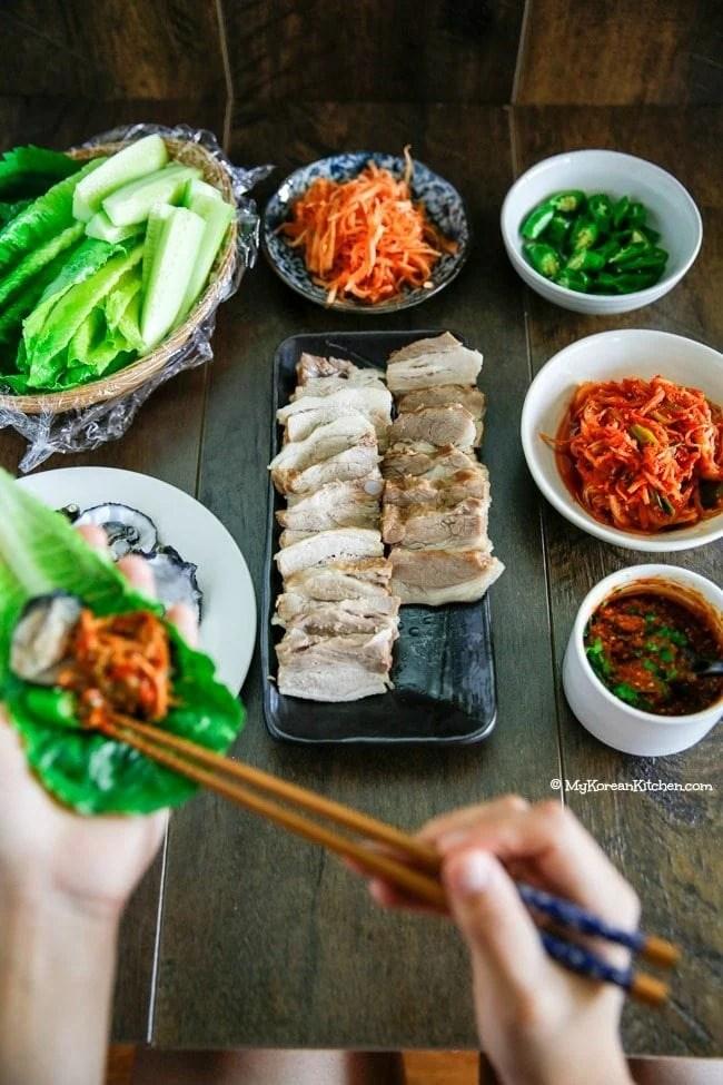 Apple Infused Korean Pork Wraps (Bossam) | MyKoreanKitchen.com