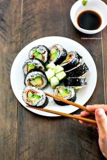 Bacon Avocado Cucumber Sushi Rolls. It has savoury and refreshing flavour and crunchiness. Just perfect for spring weather! Easy and quick to roll.| MyKoreanKitchen.com
