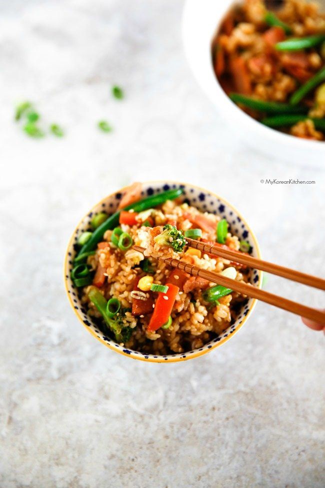 Easy Fried Rice with Bacon. Ready in 20 mins! | MyKoreanKitchen.com