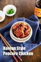 crunchy and sticky Korean style popcorn chicken | MyKoreanKitchen.com