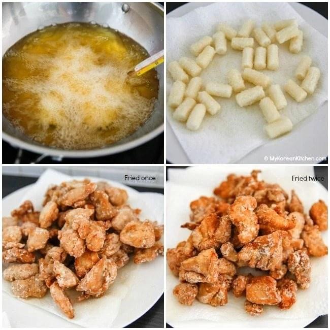 Korean style popcorn chicken deep frying