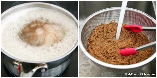 Making noodles for Bibim Naengmyeon
