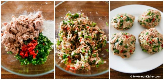 Korean style tuna cake mixture