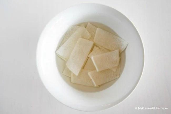 Making radish pickles for Bibim Naengmyeon