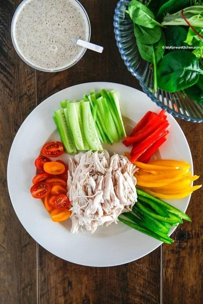 Korean Shredded Chicken Salad Platter | MyKoreanKitchen.com
