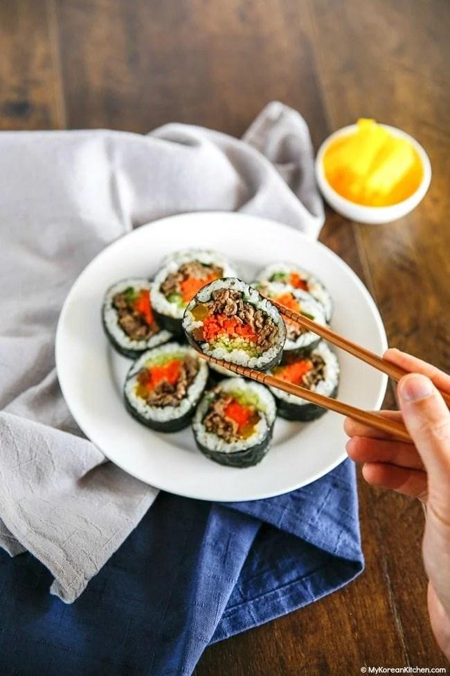 Bulgogi Kimbap (Bulgogi Seaweed Rice Rolls). It's perfect for a picnic or party!   MyKoreanKitchen.com