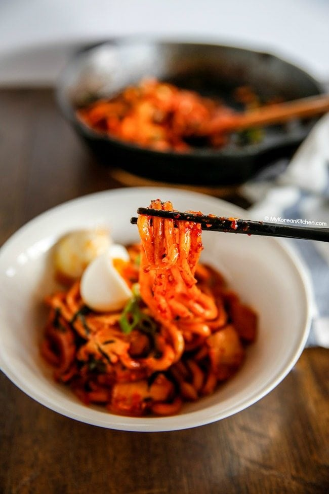 Kimchi Udon Noodle Stir Fry - It's spicy but super addictive! | MyKoreanKitchen.com