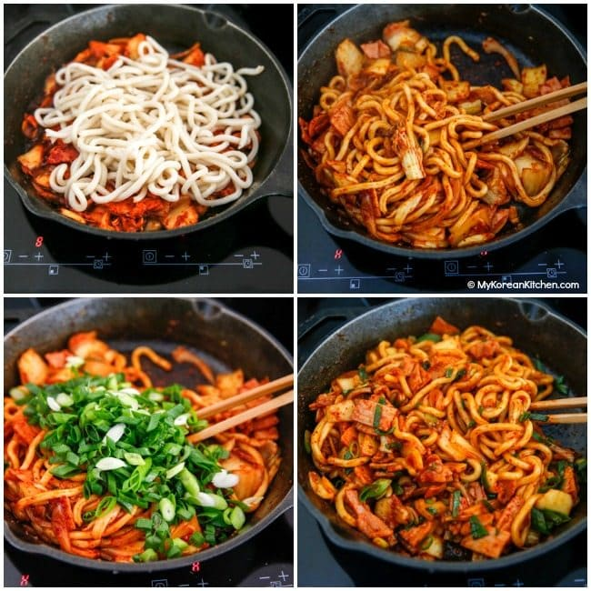Kimchi Udon Noodle Stir Fry | MyKoreanKitchen.com