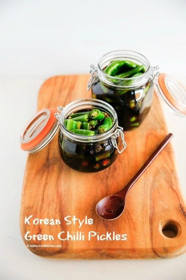 How to Make Korean Style Green Chilli Pickles | MyKoreanKitchen.com