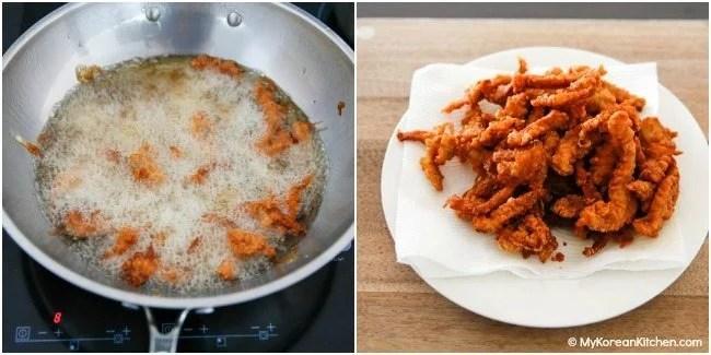 Double frying tangsuyuk (Korean sweet and sour pork)