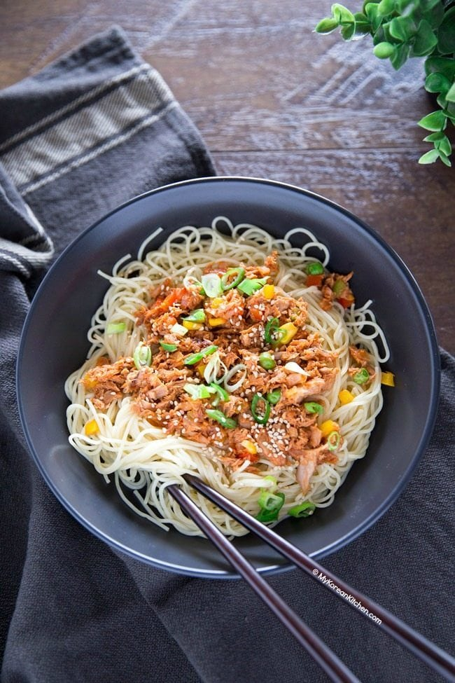 Korean spicy tuna served with angel hair pasta | MyKoreanKitchen.com