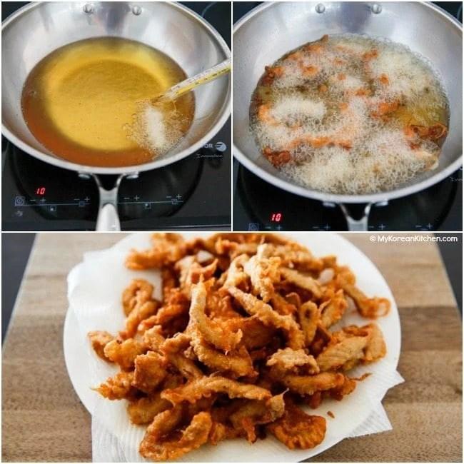 Deep frying Tangsuyuk (Korean sweet and sour pork)