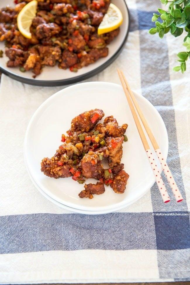Korean Spicy Garlic Fried Chicken (Kkanpunggi) | MyKoreanKitchen.com