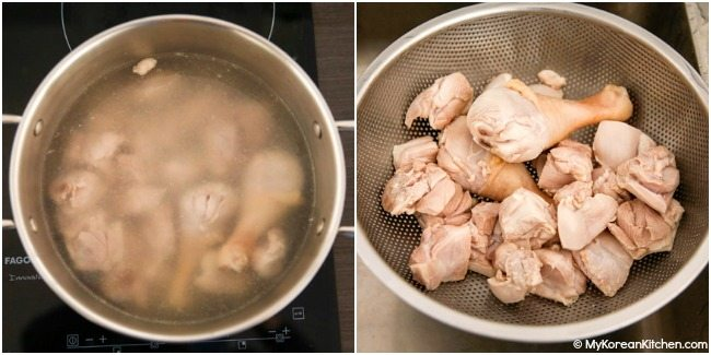 Parboiling chicken