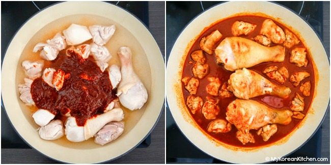 Boiling chicken and sauce in a pot