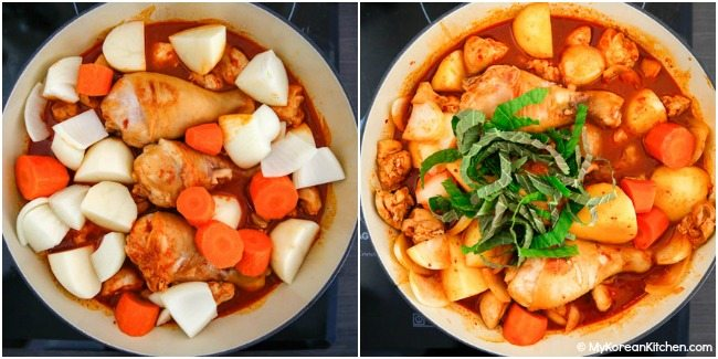 Boiling chicken and vegetables