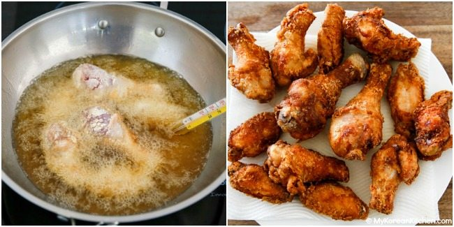 Double deep frying chicken in a large pot
