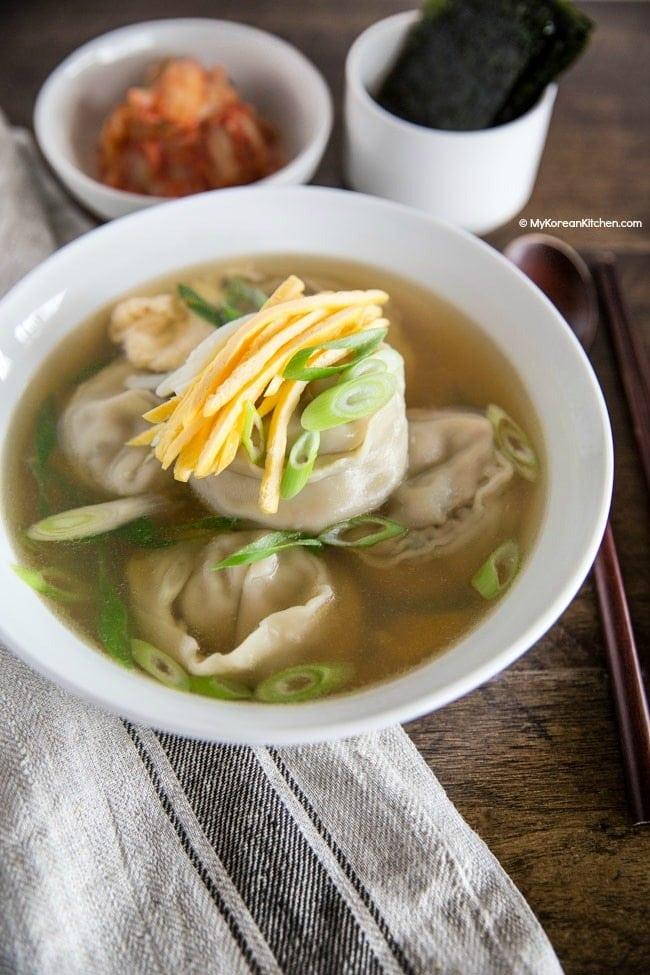 Mandu soup served in a bowl