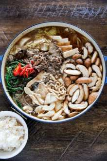 Bulgogi Stew with a bowl of rice