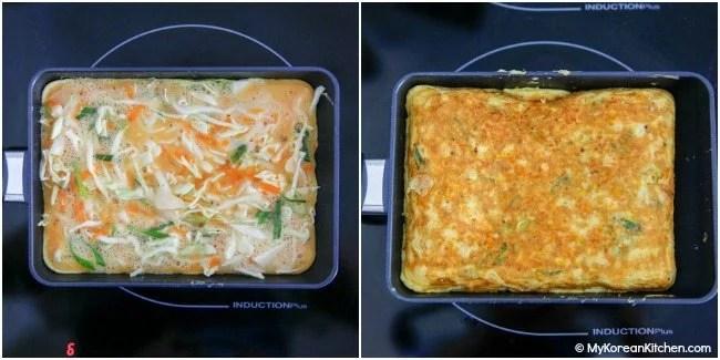 Making egg omelette in a rectangular pan